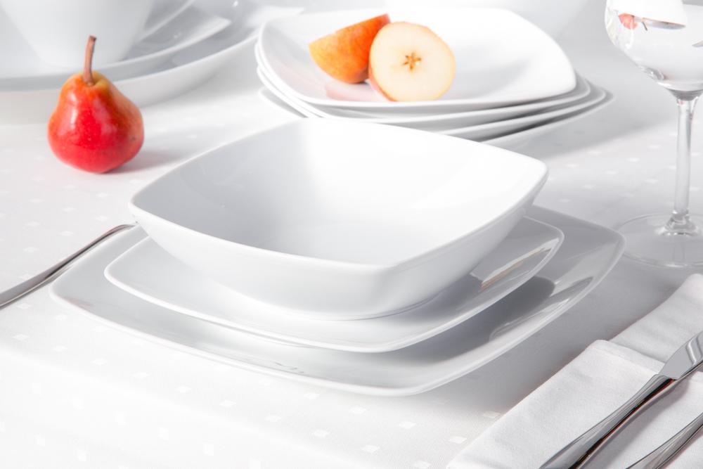 Zestaw obiadowy dla 6 osób kwadratowy porcelana MariaPaula Moderna Biała (18 elementów)