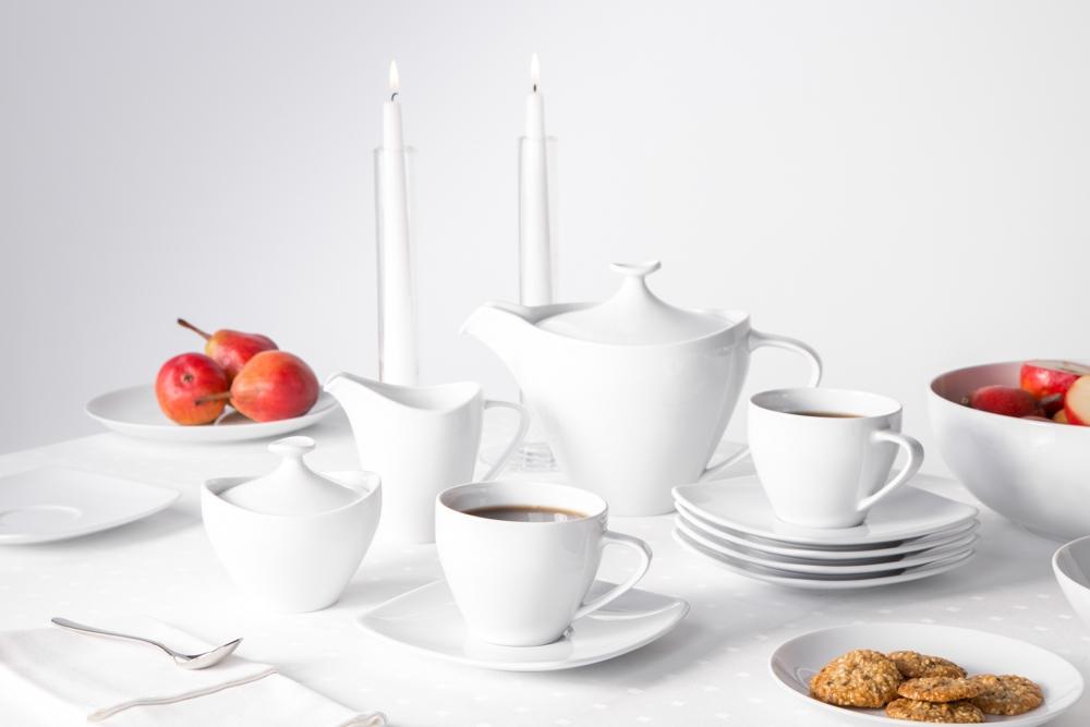 Zestaw do kawy na 6 osób porcelana MariaPaula Moderna biała kwadratowa (15 elementów)