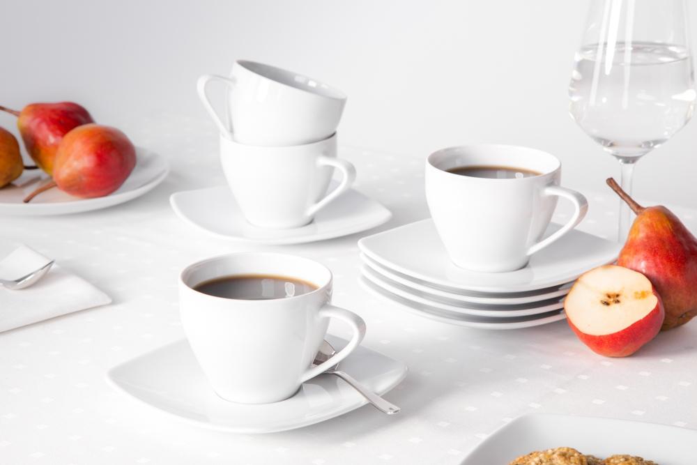 Zestaw do kawy na 6 osób porcelana MariaPaula Moderna biała kwadratowa (12 elementów)