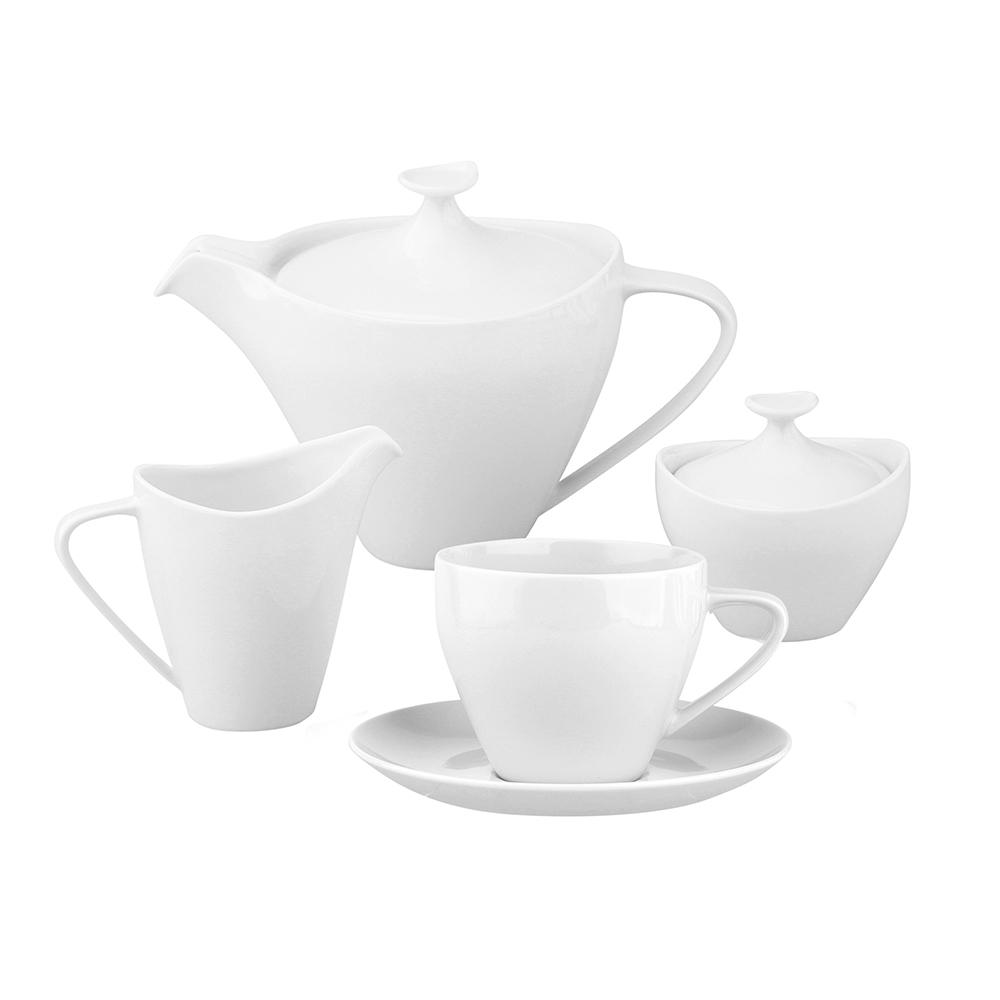 Zestaw / garnitur do kawy na 6 osób porcelana MariaPaula Moderna Biała (21 elementów)