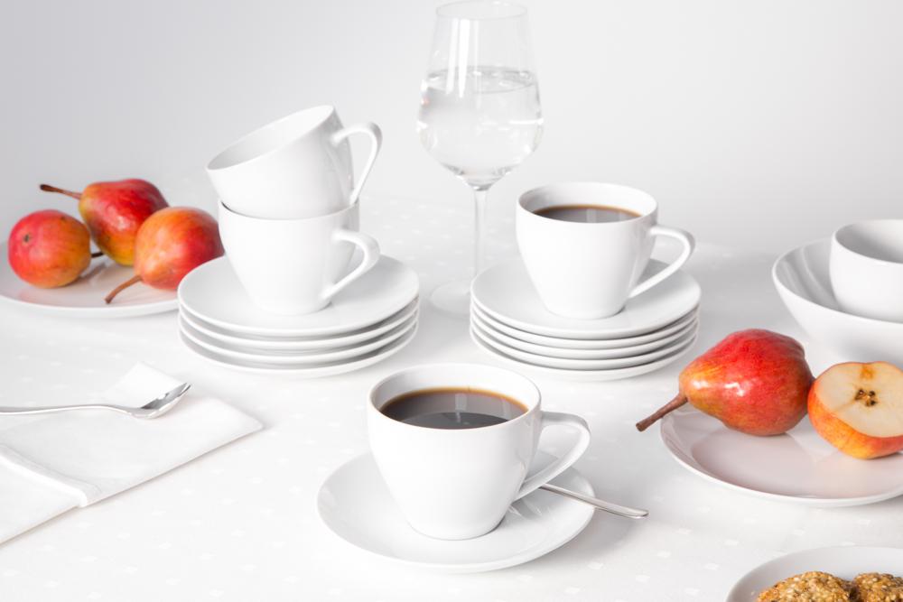 Zestaw / garnitur do kawy na 6 osób porcelana MariaPaula Moderna Biała (18 elementów)