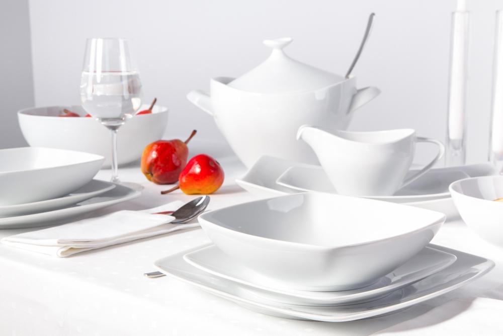 Zestaw obiadowy dla 6 osób porcelana MariaPaula Moderna Biała kwadratowa (24 elementy)
