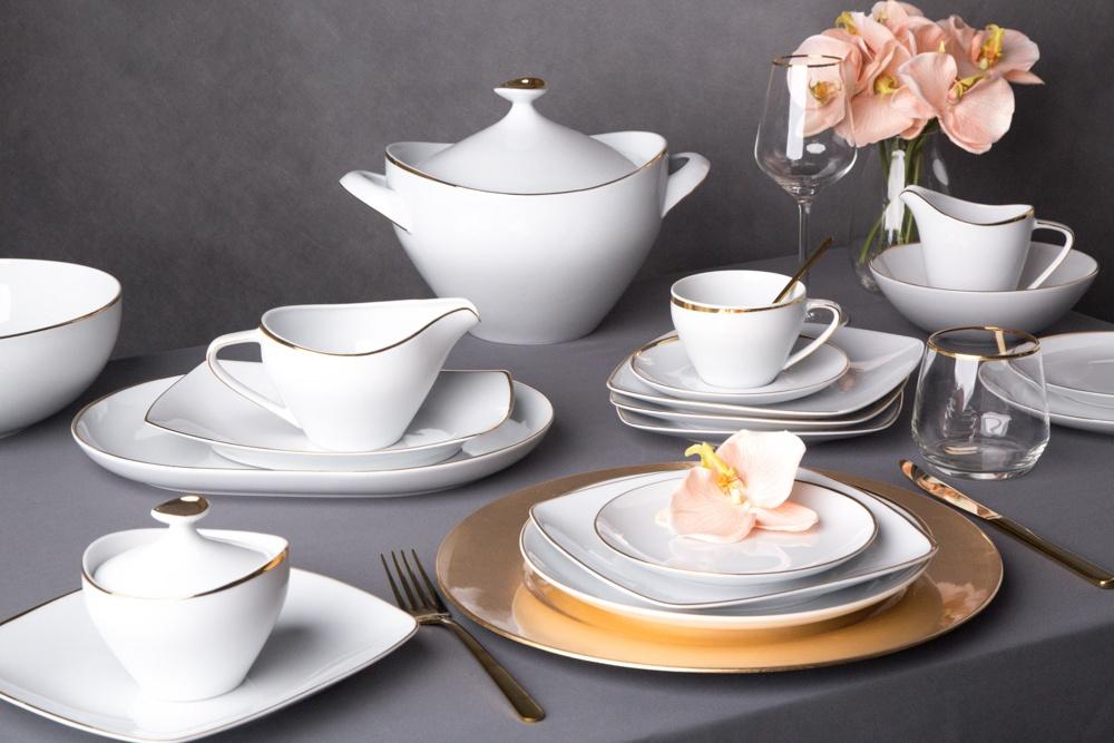 Zestaw obiadowy dla 6 osób porcelana MariaPaula Moderna Gold ze złotym zdobieniem (24 elementy)