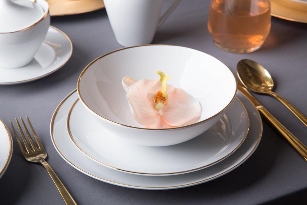 Zestaw obiadowy / zestaw talerzy dla 6 osób porcelana MariaPaula Moderna Gold ze złotym zdobieniem (18 elementów)