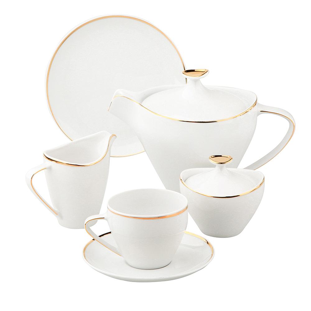 Zestaw kawowy dla 6 osób porcelana MariaPaula Moderna Gold ze złotym zdobieniem (21 elementów)