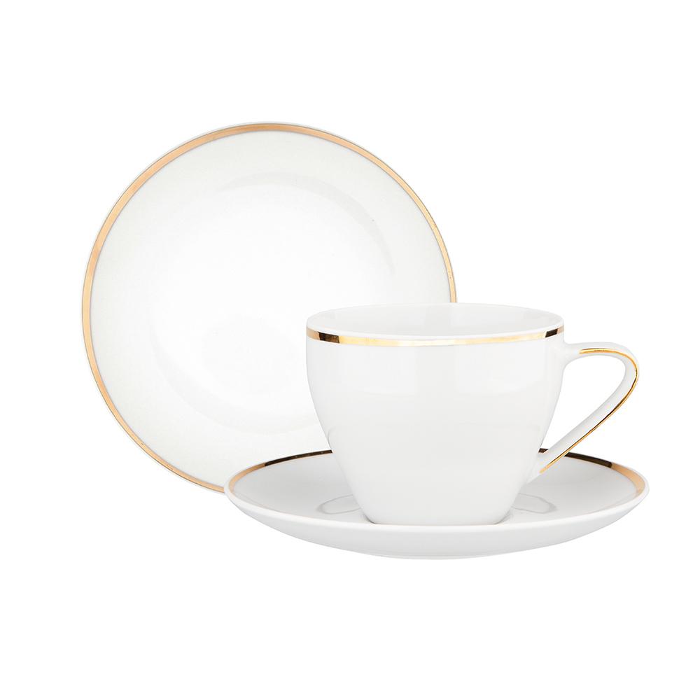 Zestaw kawowy dla 6 osób porcelana MariaPaula Moderna Gold ze złotym zdobieniem (18 elementów)