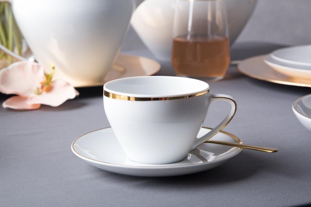 Zestaw do kawy dla 2 osób porcelana MariaPaula Moderna Gold ze złotym zdobieniem (4 elementy)
