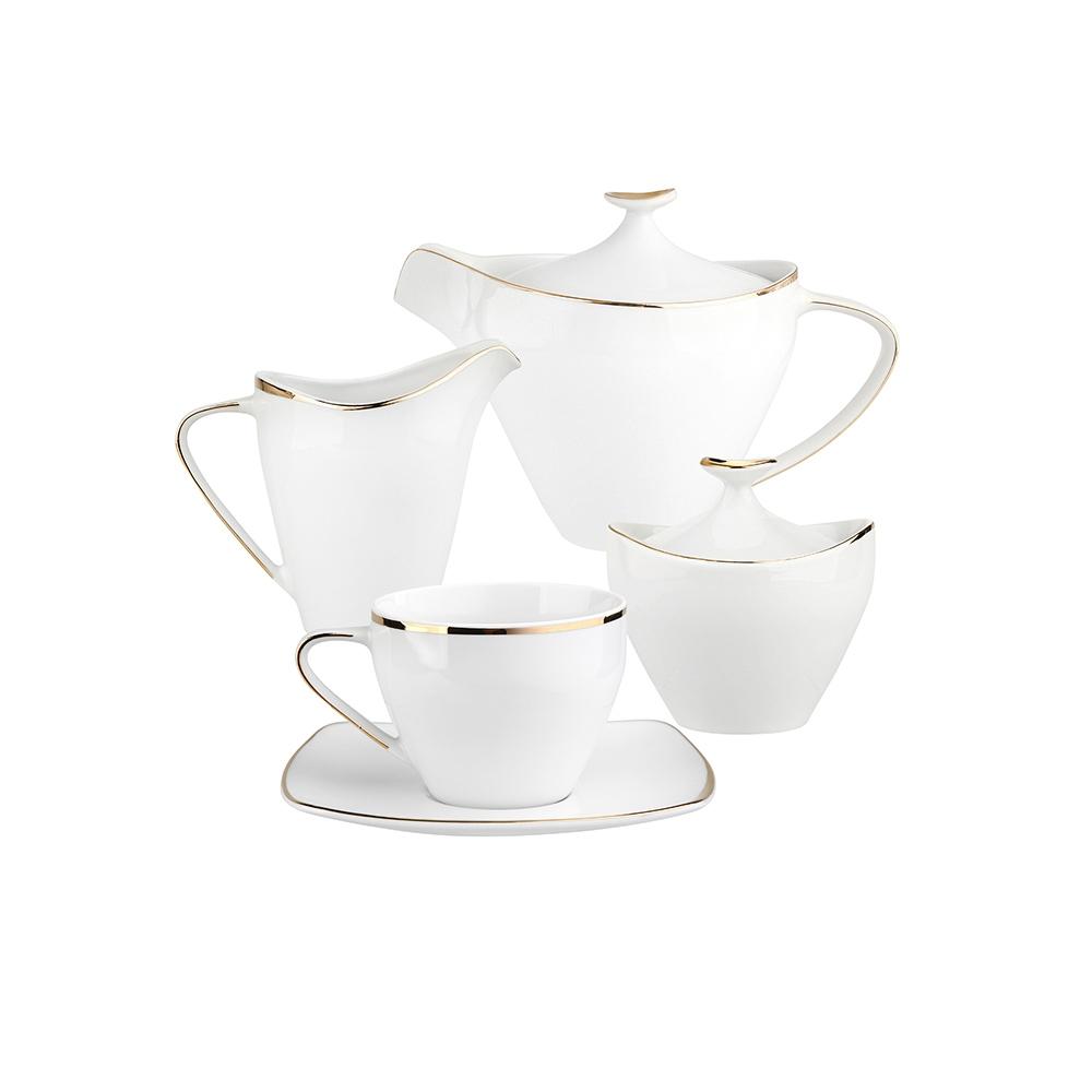 Zestaw do kawy dla 6 osób kwadratowy porcelana MariaPaula Moderna Gold ze złotym zdobieniem (15 elementów)