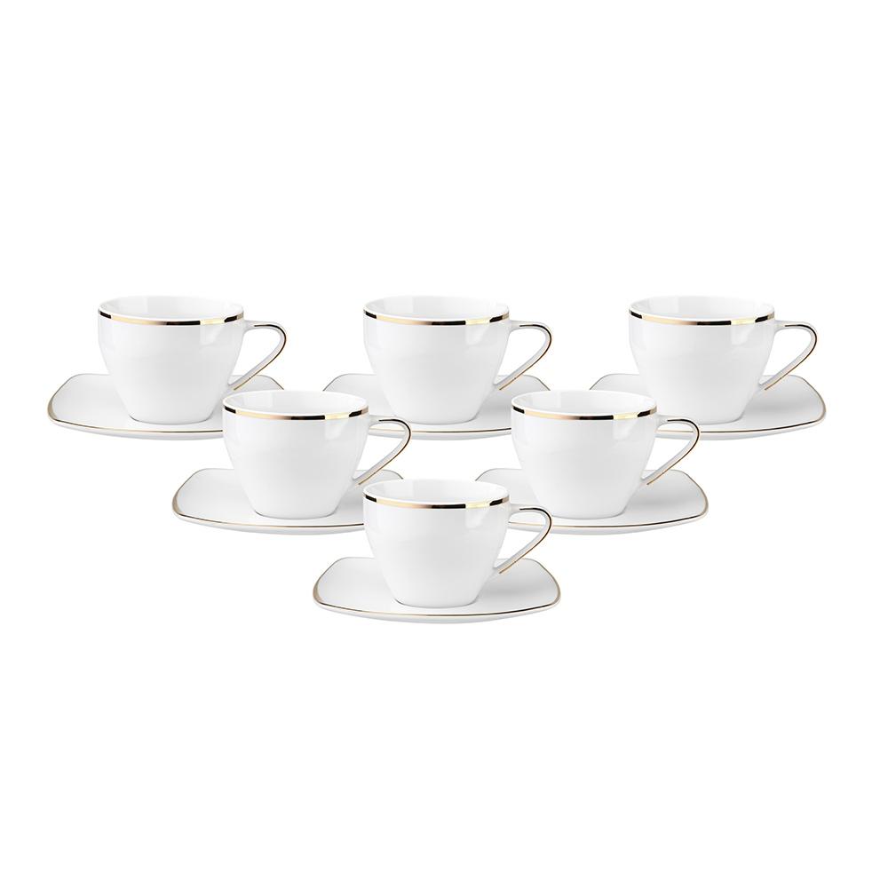 Zestaw do kawy dla 6 osób kwadratowy porcelana MariaPaula Moderna Gold ze złotym zdobieniem (12 elementów)