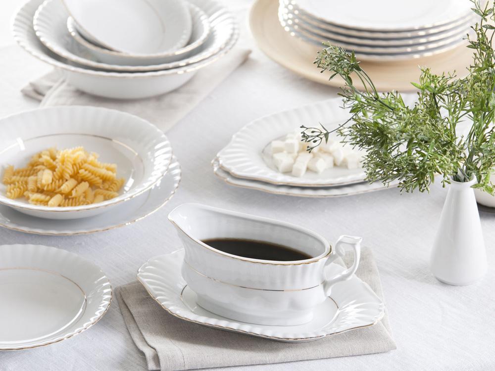 Serwis obiadowy dla 12 osób porcelana Chodzież Iwona Złoty Pasek