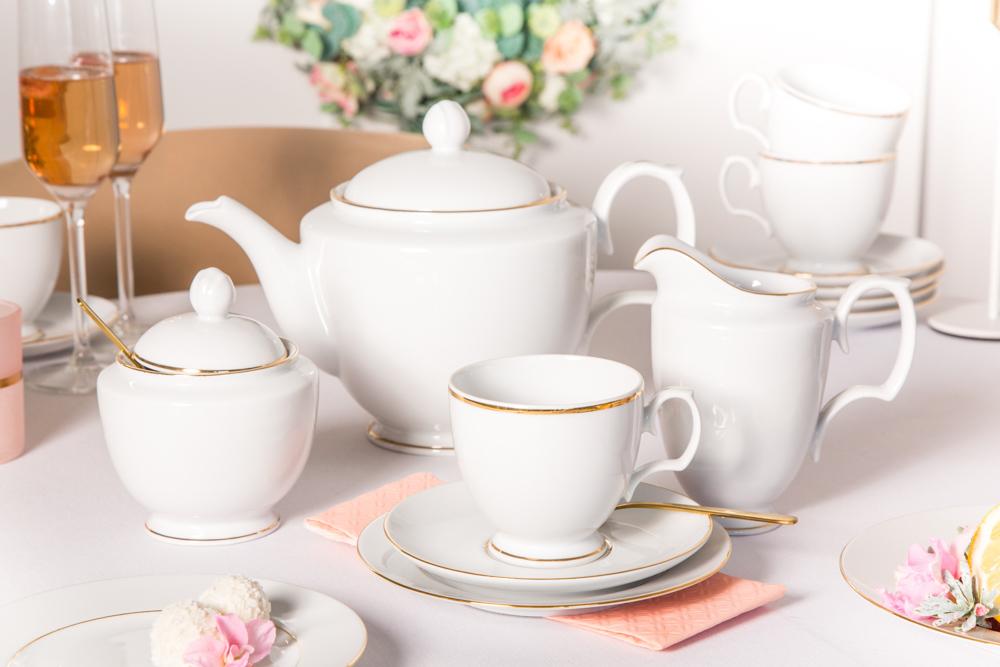 Serwis / Zestaw kawowy na 12 osób porcelana MariaPaula Złota Linia 39 elementów
