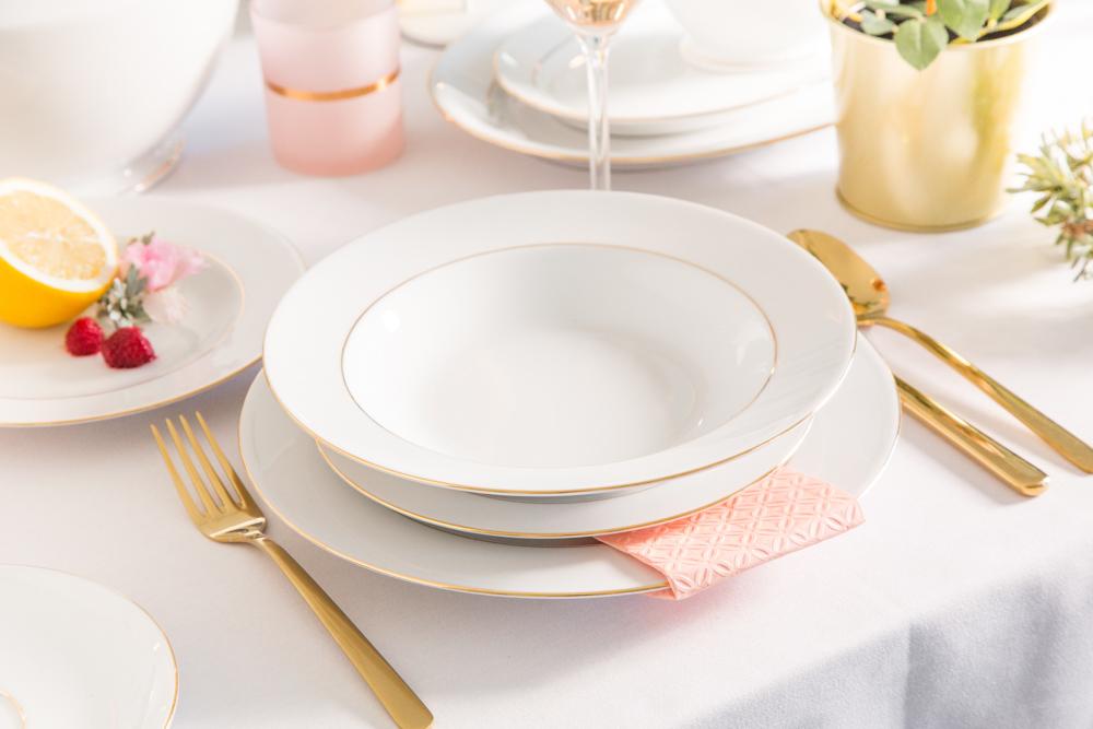 Serwis / Zestaw obiadowy na 6 osób porcelana MariaPaula Złota Linia 18 elementów