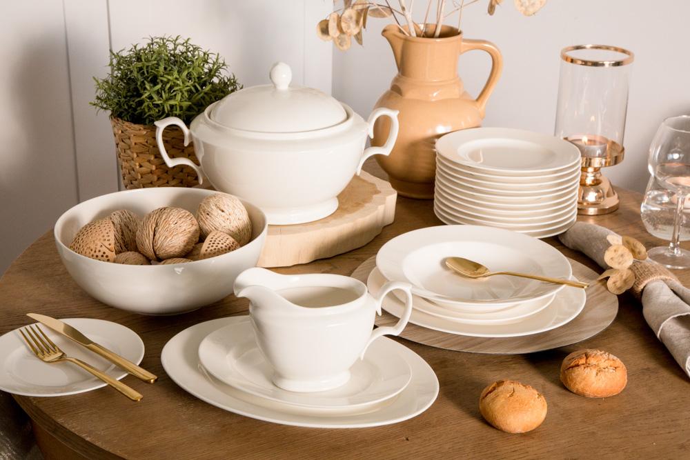 Zestaw / serwis obiadowy dla 12 osób porcelana MariaPaula Ecru 41 elementów