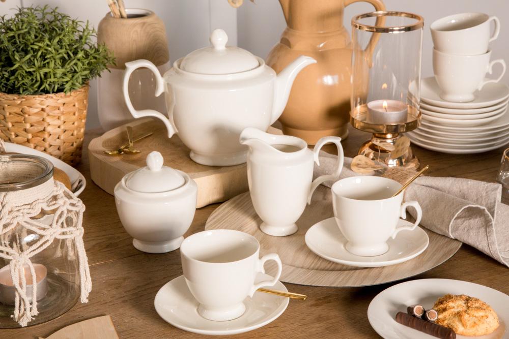 Zestaw / serwis kawowy dla 12 osób porcelana MariaPaula Ecru