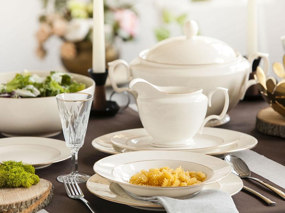 Zestaw obiadowy dla 12 osób porcelana MariaPaula Ecru Złota Linia 12/41