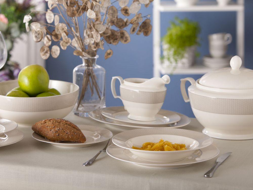 Serwis / Zestaw obiadowy dla 12 osób porcelana MariaPaula Ecru Szara Girlanda