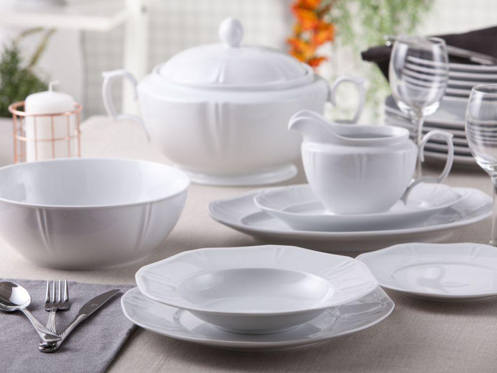 Serwis / Zestaw obiadowy na 6 osób porcelana MariaPaula Geometria Biała