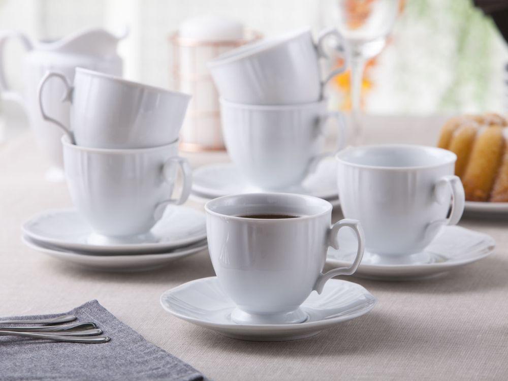 Serwis / Zestaw kawowy na 6 osób porcelana MariaPaula Geometria Biała