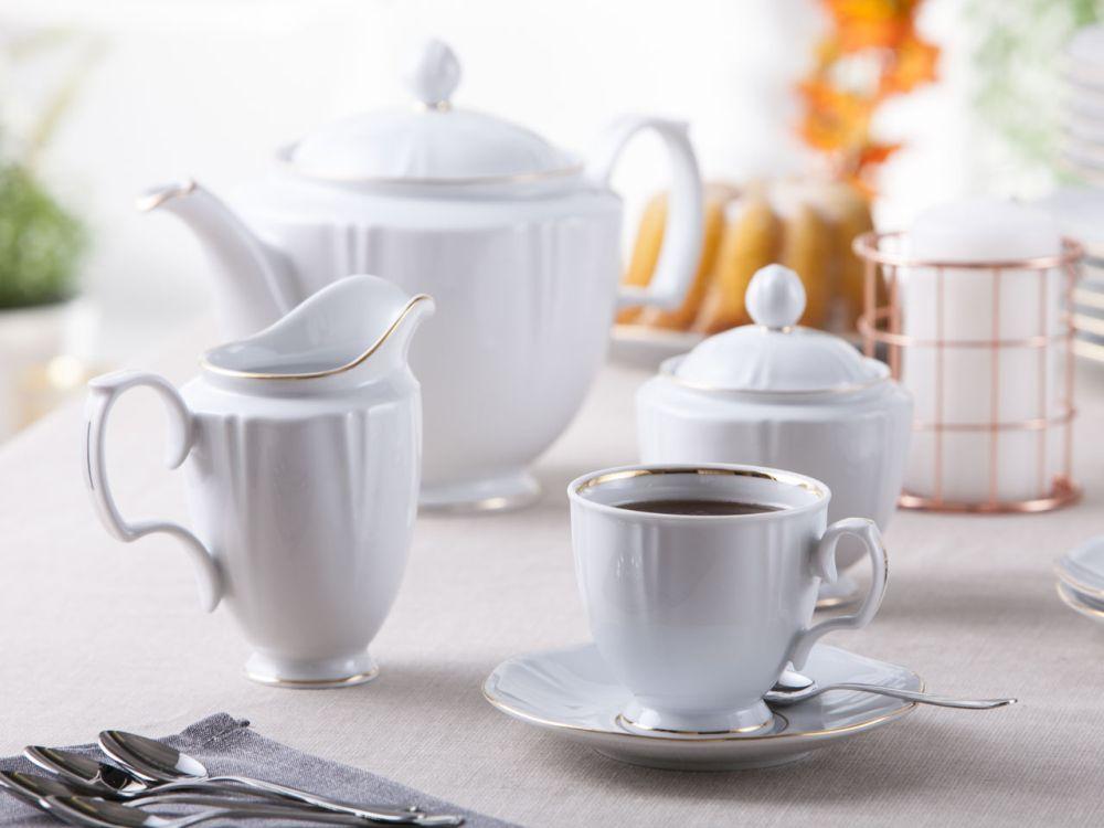 Serwis / Zestaw kawowy na 6 osób porcelana MariaPaula Geometria Złota Linia