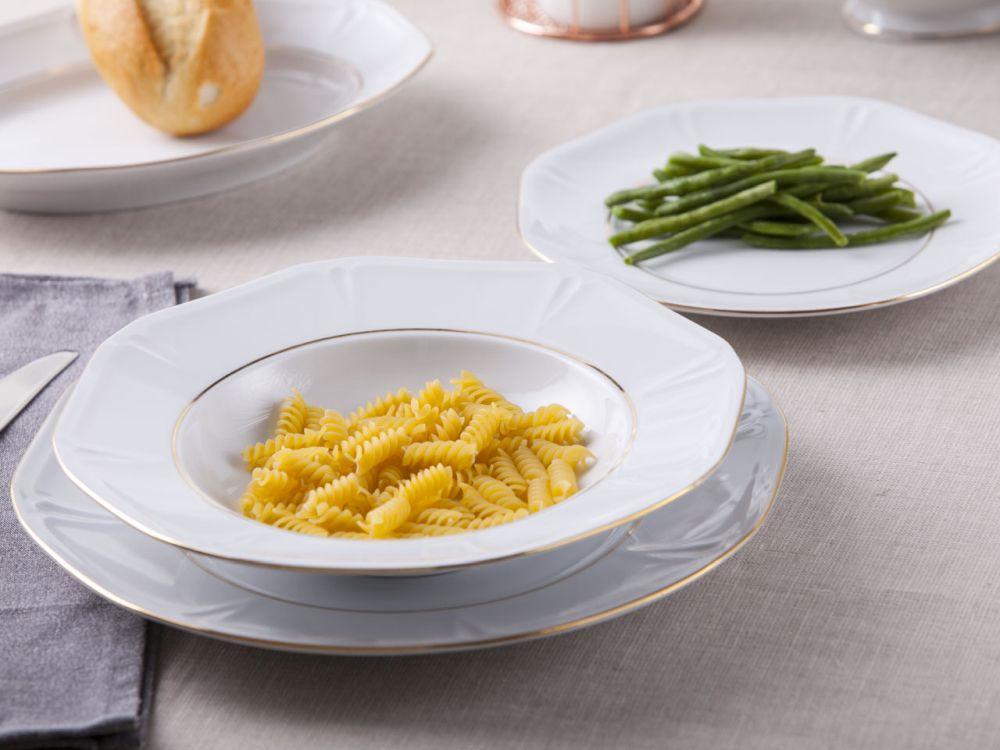 Serwis / Zestaw obiadowy na 6 osób porcelana MariaPaula Geometria Złota Linia