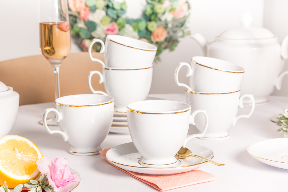Serwis / Zestaw kawowy na 6 osób Maria Paula Złota Linia 220 ml 12 elementów (opakowanie prezentowe)