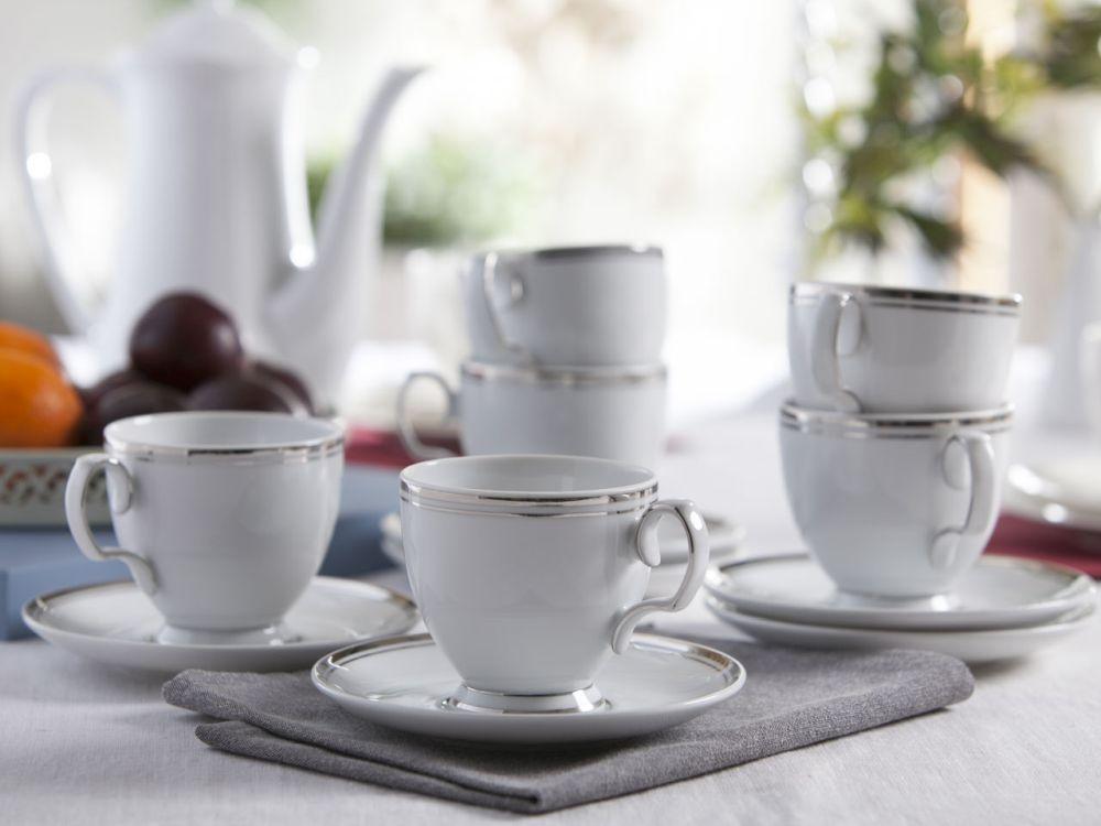 Serwis / Zestaw kawowy na 6 osób MariPaula Platynowa Linia 12 elementów (Opakowanie prezentowe)