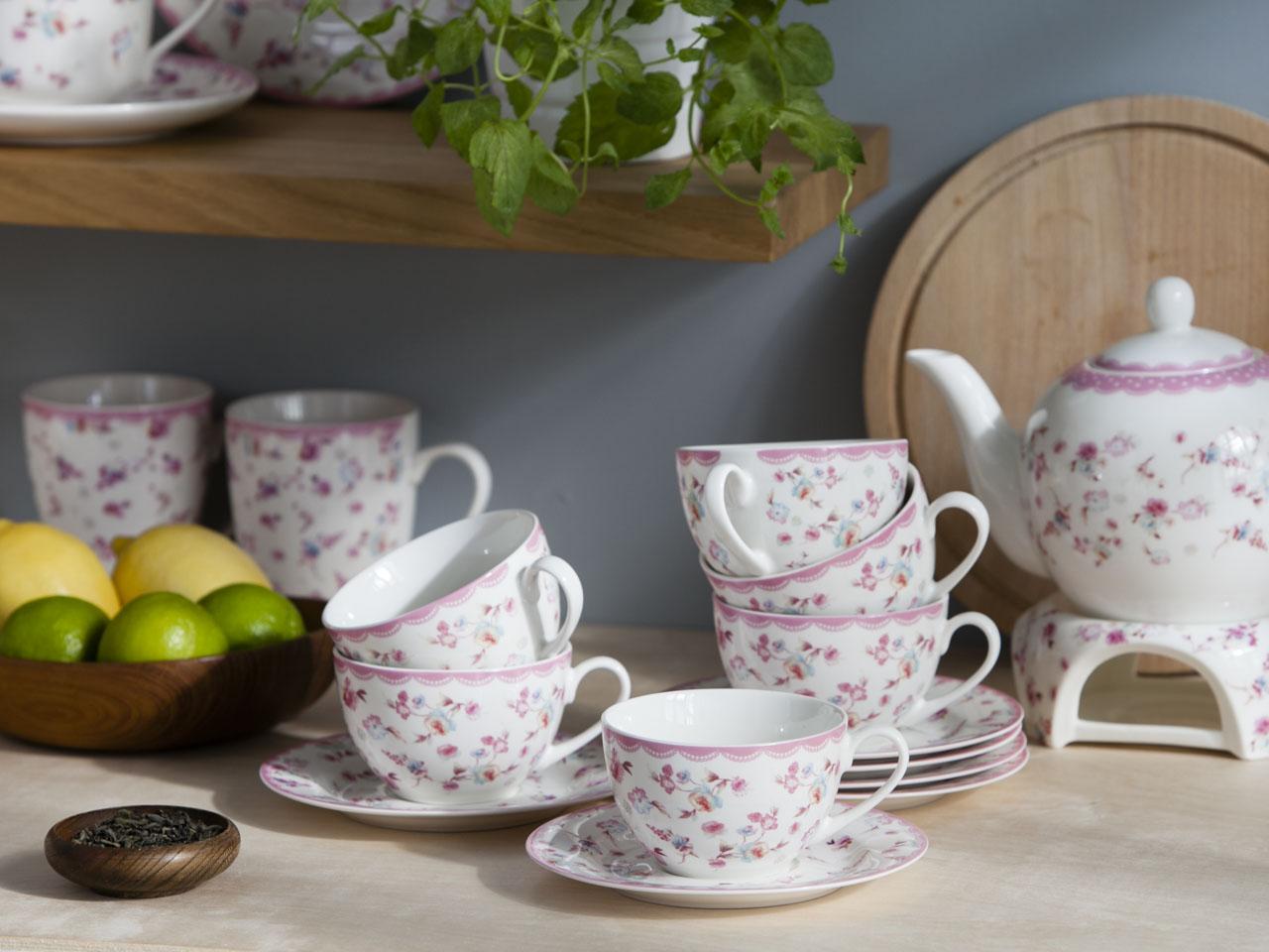 Serwis / Zestaw kawowy na 6 osób porcelana Altom Design kolekcja Folly (12 elementów / opakowanie prezentowe)
