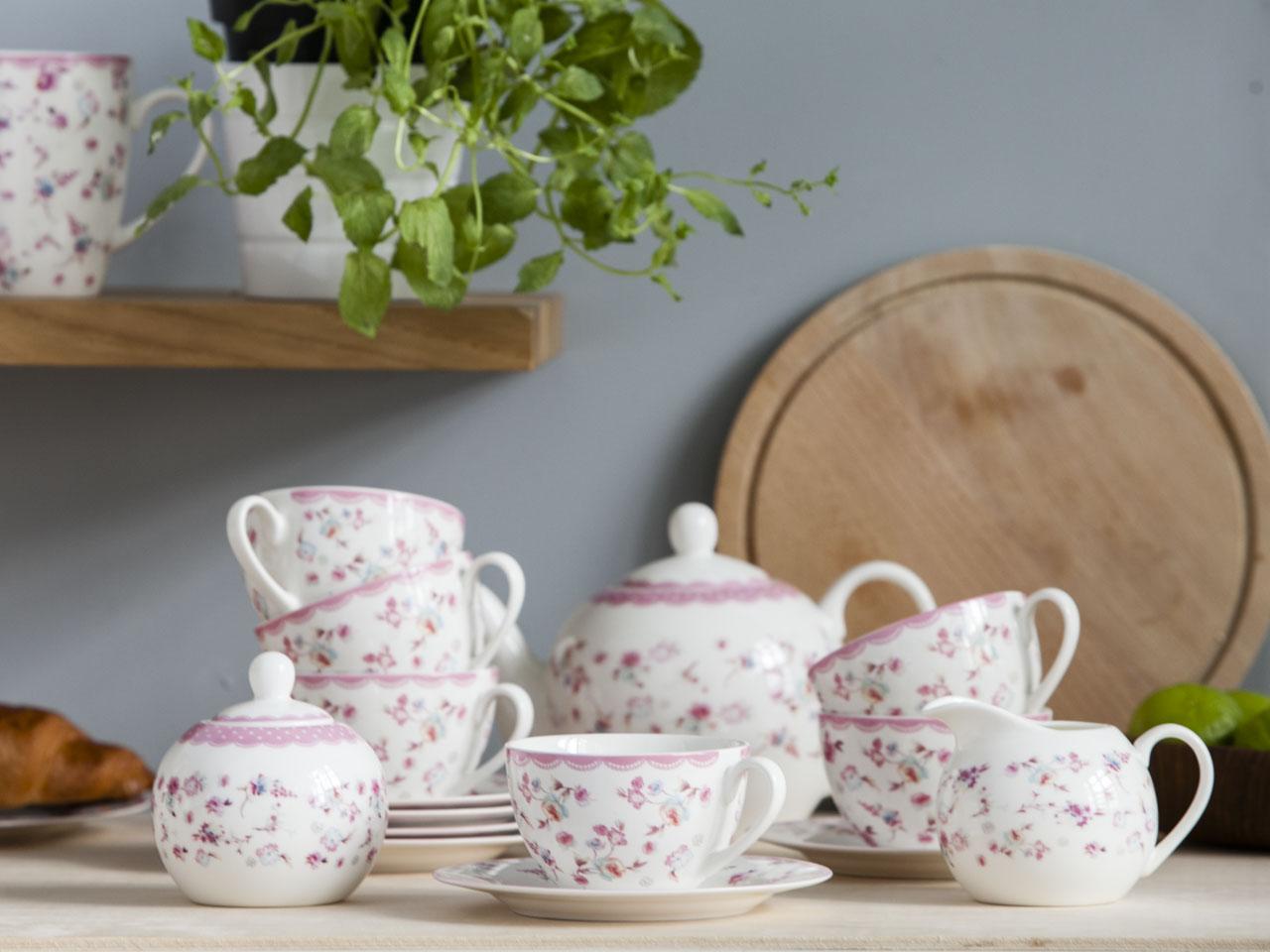 Serwis / Zestaw kawowy na 6 osób porcelana Altom Design kolekcja Folly (15 elementów / opakowanie prezentowe)