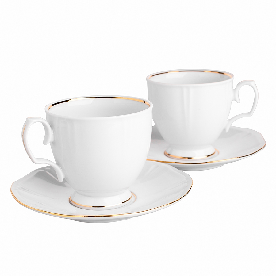 MariaPaula geometria goldenline set of 2 cups 220ml with sacucers 15,5cm in giftbox