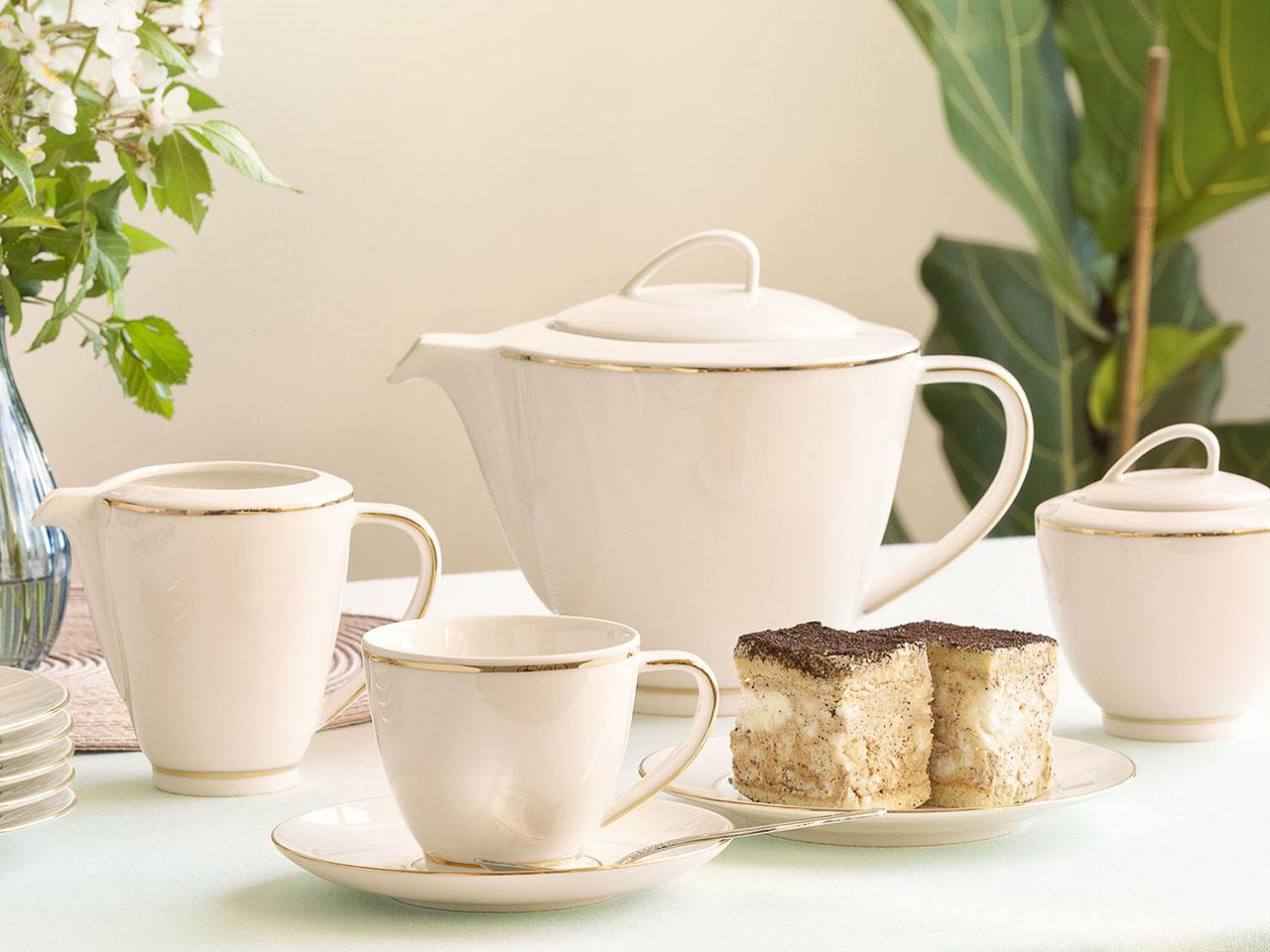 Serwis / Zestaw kawowy na 6 osób MariaPaula Ecru Nova Złota Linia (21 elementów)