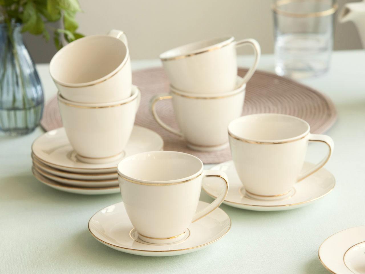 Serwis / Zestaw kawowy na 6 osób MariaPaula Ecru Nova Złota Linia (12 elementów)