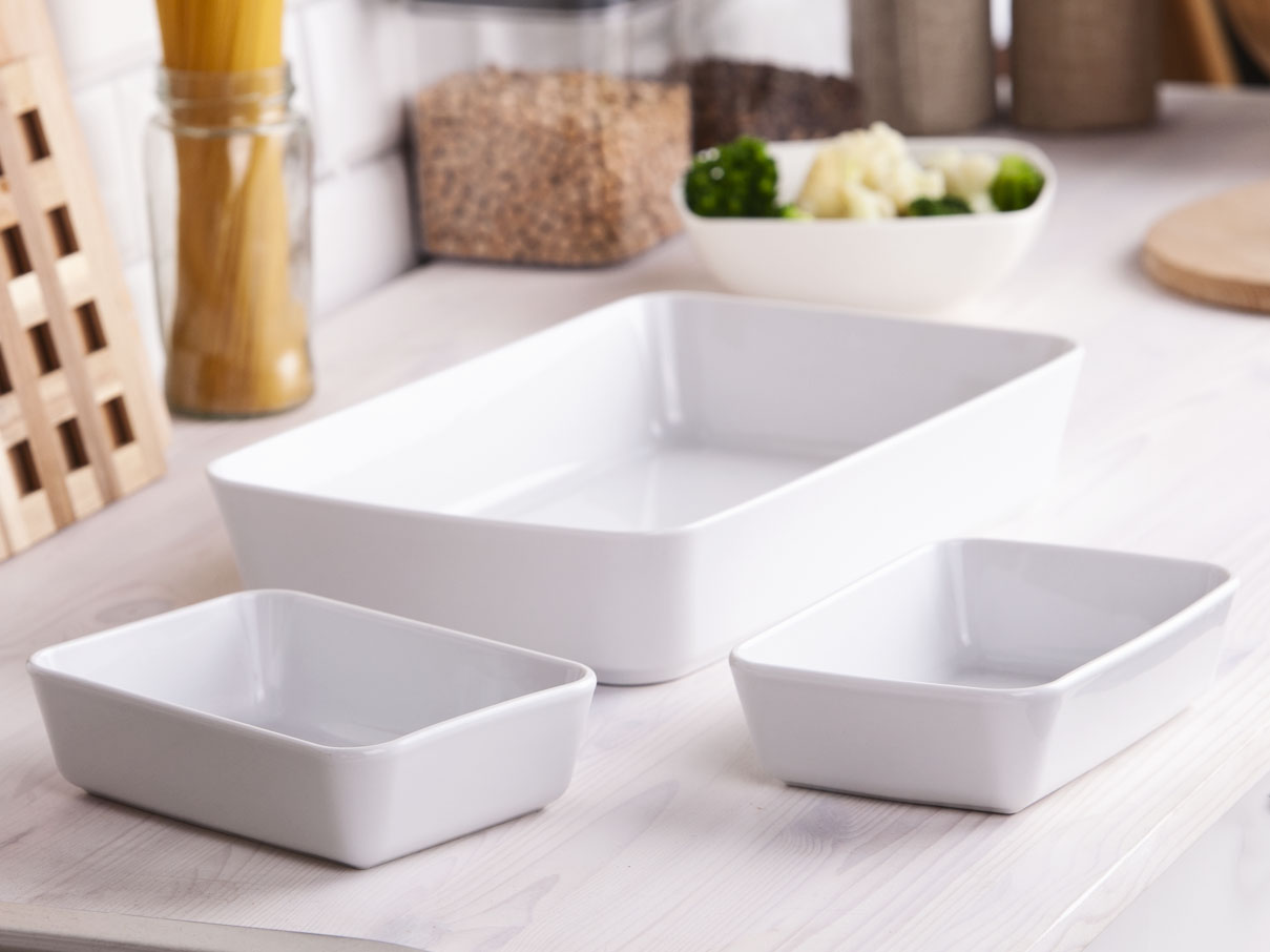 Zestaw naczyń do zapiekania i serwowania porcelana MariaPaula Biała (3 sztuki)