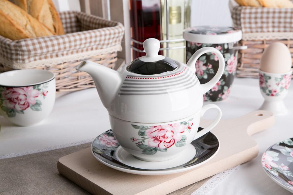 Czajniczek i filiżanka / zestaw tea for one porcelanowy Altom Design Róża Paryska