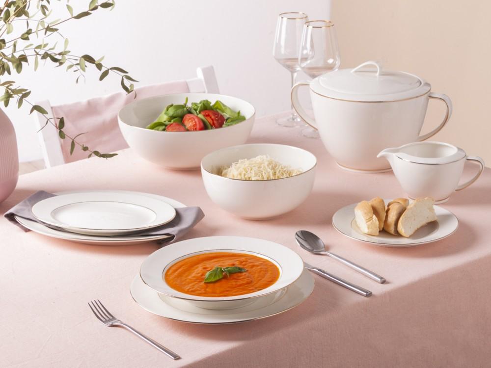 Serwis / zestaw obiadowy dla 6 osób porcelana MariaPaula Nova Ecru Złota Linia (24 elementy)