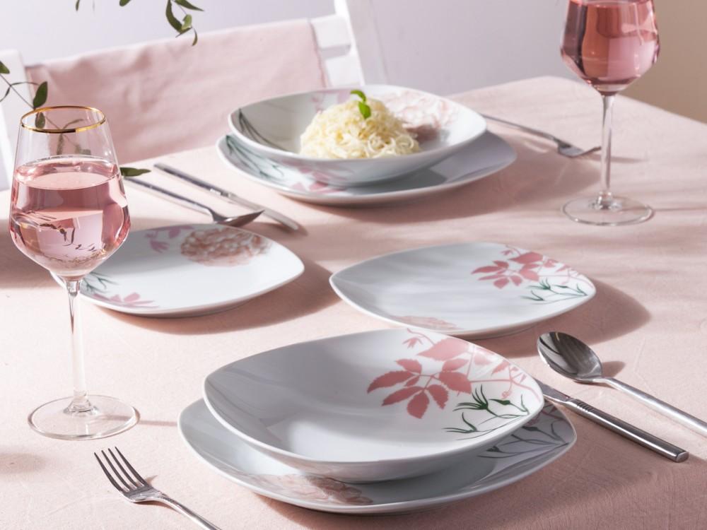 Zestaw talerzy kwadratowych z porcelany dla 6 osób Altom Design dek. Grace (18 elementów)