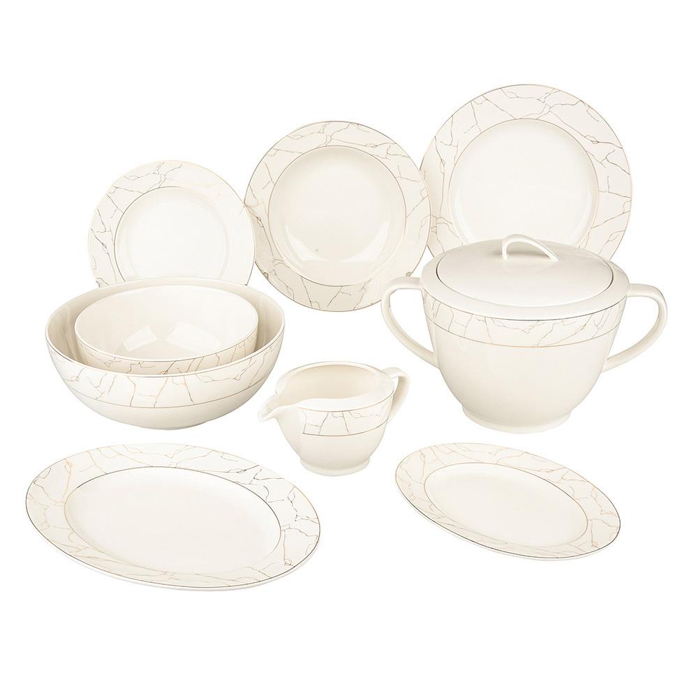 Serwis / zestaw obiadowy na 6 osób Porcelana MariaPaula Nova Ecru Marble (24 elementy)