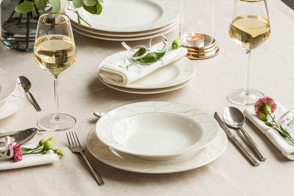 Serwis / zestaw obiadowy na 6 osób Porcelana MariaPaula Nova Ecru Marble (18 elementów)