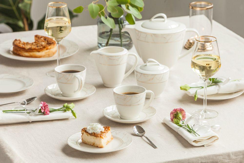 Serwis / zestaw kawowy dla 6 osób Porcelana MariaPaula Nova Ecru Marble (21 elementów)