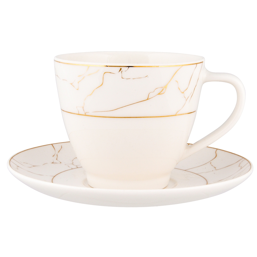 Serwis / zestaw kawowy dla 6 osób Porcelana MariaPaula Nova Ecru Marble (12 elementów) gift box