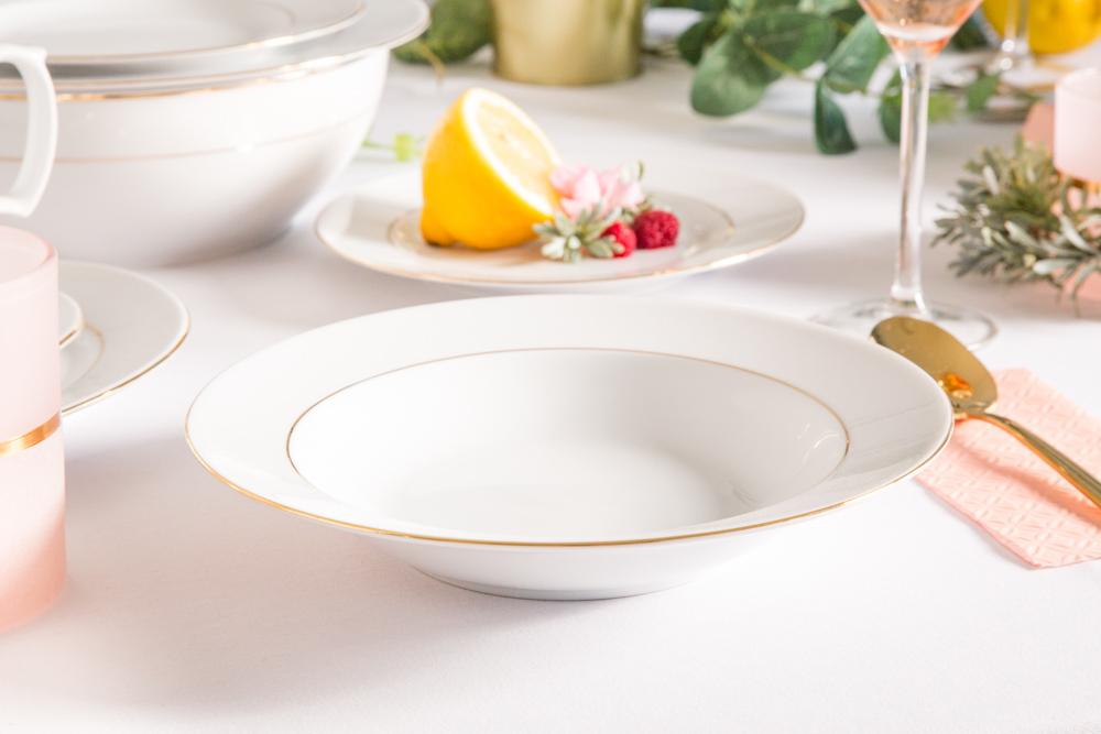 Talerz do zupy głęboki porcelana MariaPaula Złota Linia 23cm