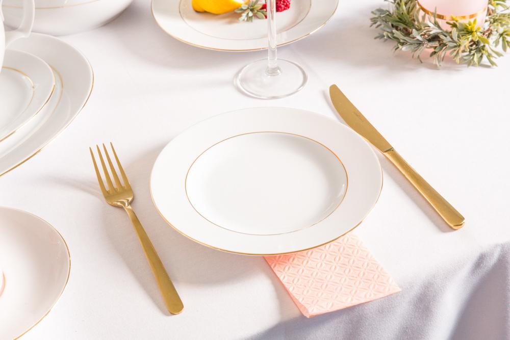Talerz obiadowy porcelana MariaPaula Złota Linia 20cm
