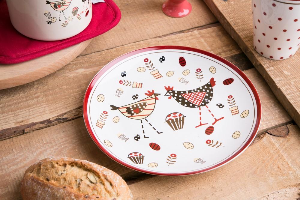 Talerz deserowy porcelanowy Kurka Zośka Kokoszka 20 cm