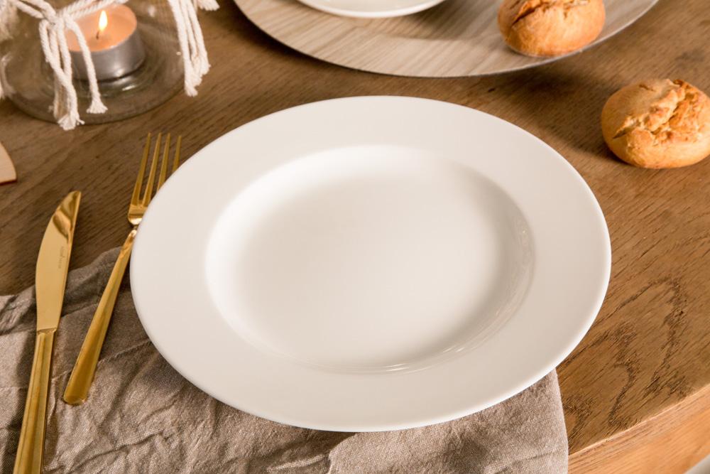 Talerz obiadowy płytki porcelana MariaPaula Ecru 26 cm