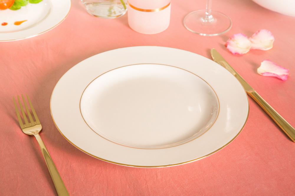 Talerz obiadowy płytki porcelana MariaPaula Ecru Złota Linia 26 cm