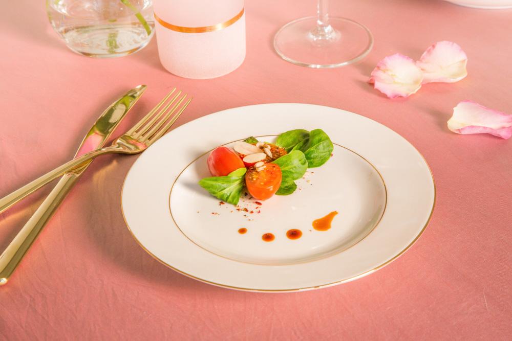 Talerz obiadowy porcelana MariaPaula Ecru Złota Linia 20 cm