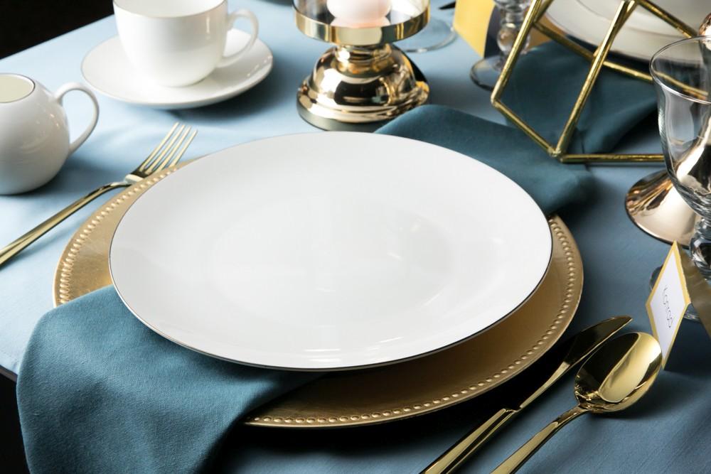 Talerz obiadowy płytki porcelana kremowa Altom Design Bella Złota Linia 26 cm