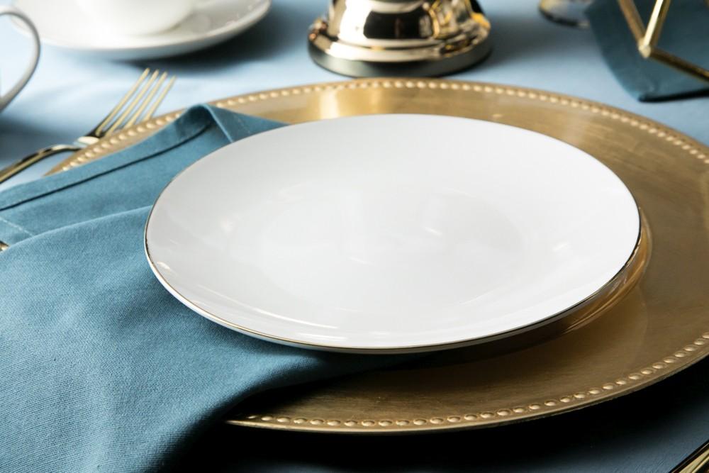Talerz deserowy porcelana kremowa Altom Design Bella Złota Linia 20 cm