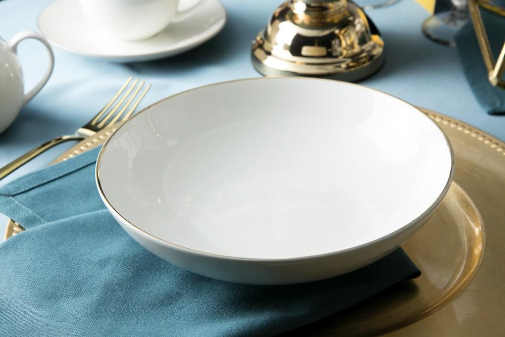 Talerz do zupy głęboki porcelana kremowa Altom Design Bella Złota Linia 20 cm