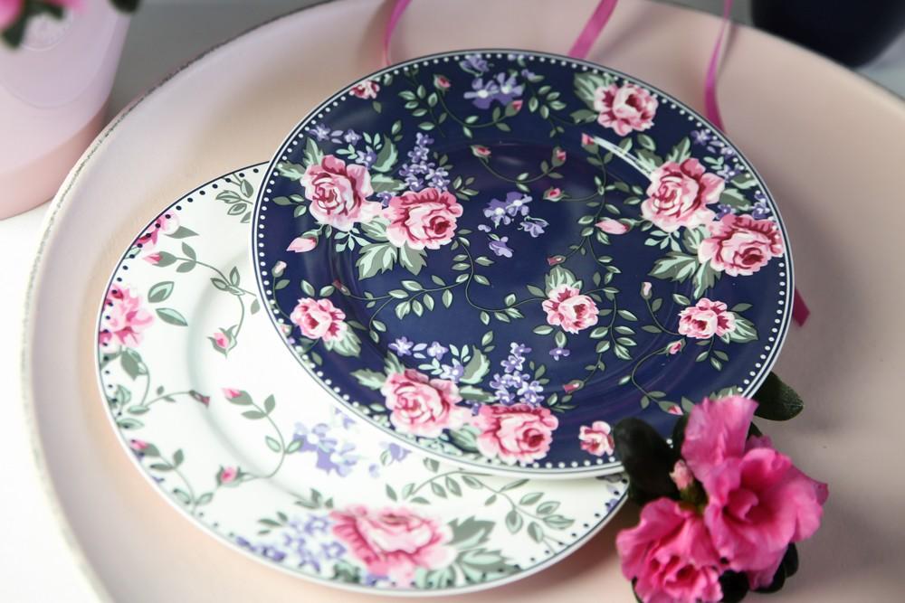 Talerz deserowy porcelanowy Altom Design Granatowa Róża 19 cm 2 wzory