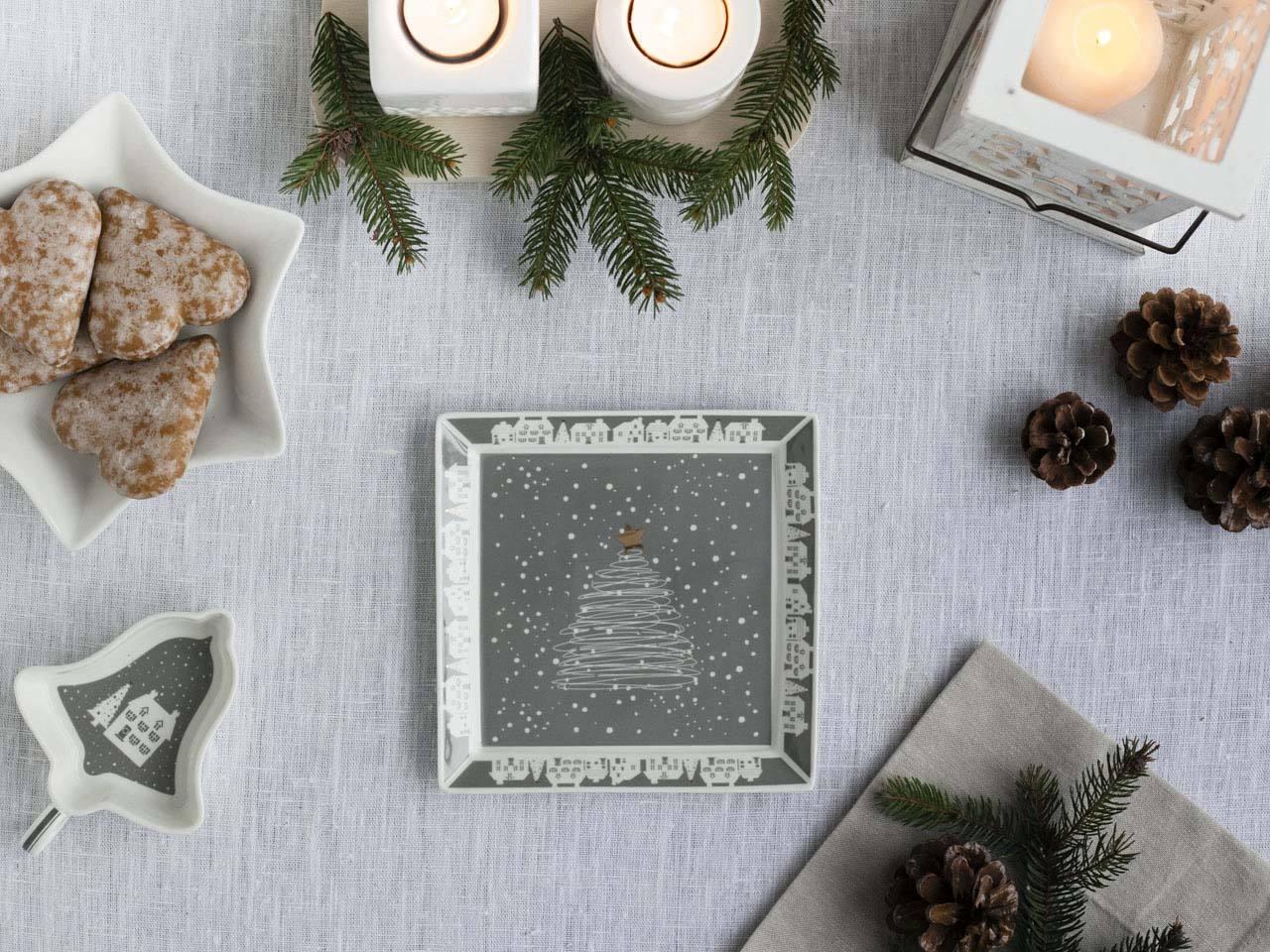 Talerz deserowy kwadratowy porcelanowy świąteczny Altom Design Skandynawia 17,5 cm
